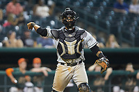 West Virginia Power catcher Rafelin Lorenzo (37) makes a throw to first base against the Greensboro Grasshoppers at First National Bank Field on August 9, 2018 in Greensboro, North Carolina. The Power defeated the Grasshoppers 9-7 in game two of a double-header. (Brian Westerholt/Four Seam Images)