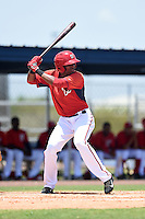 GCL Nationals designated hitter Kelvin Gutierrez (11) at bat during a game against the GCL Marlins on June 28, 2014 at the Carl Barger Training Complex in Viera, Florida.  GCL Nationals defeated the GCL Marlins 5-0.  (Mike Janes/Four Seam Images)