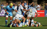 Lee Dickson of Bedford Blues in action during the Greene King IPA Championship match between Bedford Blues and London Scottish Football Club at Goldington Road, Bedford, England on 29 September 2018. Photo by Harry Hubbard.