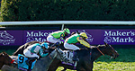 November 7, 2020 : Audarya, ridden by Pierre-Charles Boudot, wins the Maker's Mark Filly & Mare Turf on Breeders' Cup Championship Saturday at Keeneland Race Course in Lexington, Kentucky on November 7, 2020. John Voorhees/Breeders' Cup/Eclipse Sportswire/CSM