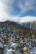 King Ravine from a high point off of the Air Line Trail during the winter months in the White Mountains, New Hampshire.