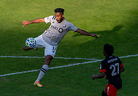 WASHINGTON, DC - NOVEMBER 8: Anthony Jackson-Harnel #11 of the Montreal Impact takes a shot during a game between Montreal Impact and D.C. United at Audi Field on November 8, 2020 in Washington, DC.