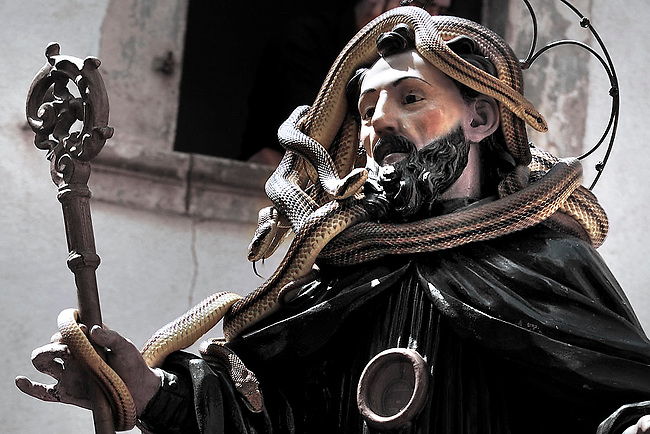 """The St. Domenico's procession in Cocullo, central Italy, May 1, 2008. Every year on the first Thursday of May, snakes are placed onto the statue of St. Domenico and then the statue is carried in a procession through the town. St. Domenico is believed to be the patron saint for people who have been bitten by snakes:..Italy, Cocullo, in the Province of L'Aquila, is at 870 meters a.s.l., along the railway line connecting Sulmona to Rome. The village rises alongside Mount Luparo (1327 meters) """"The valley opening in front of the village is surrounded by bare rocks, while on the other side, to the south, snow-capped mountain crests follow one after the other..."""".he horseshoe marks above the door of a house in Cocullo commemorate the St. Dominick's female mule, the protagonist of some of the miracles inspired by the Saint. Myth and religion are the two sides of one same story. In a nearby area called """"Via del lupo"""" (Wolf's Path), the oral tradition says there is the impression left by the knee of St. Dominick, who knelt down on the spot to recite his prayers...San Domenico Abate lived in the 10th and 11th centuries AD. Born in Foligno, in the Umbria region, he started his pilgrimages, preaching and ascetic practices in Central Italy, making miracles recorded by the word-of-mouth tradition. He died on 22 January 1031 and was buried in Sora...Cocullo snake charmers are over with their snake hunting. They proceeded through the During the procession on the first Thursday in May, before the snakes are placed all over the statue of St. Dominick, they will be fed with milk kept in containers with crusca. It is the snake that, most of all other elements, expresses an ancestral myth: the unknown aspect and unpredictability of the natural environment with man's innate need to achieve the dominance on his own habitat. .. ..Snakes and wolves were the emblems of Italic peoples like the Marsians and Irpinians. Some areas in Abruzzo, especially in the Sagittario valley, were under the me"""