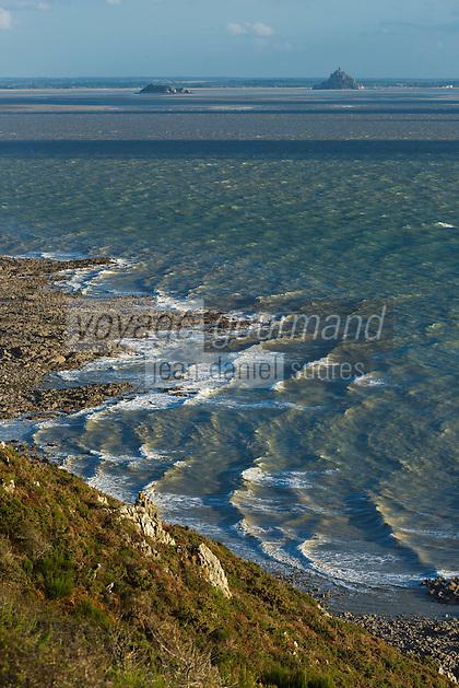 Europe/France/Normandie/Basse-Normandie/50/Baie du Mont-Saint-Michel: Env de Saint-Jean-Le-Thomas: Falaises de Champeaux //    France, Manche (50), Champeaux, Mont Saint Michel bay, Champeaux cliff