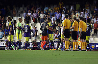 Valencia, Spain. Thursday 19 September 2013<br /> Pictured: Swansea players celebrating their win after the final whistle.<br /> Re: UEFA Europa League game against Valencia C.F v Swansea City FC, at the Estadio Mestalla, Spain,