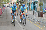 Masked Astana Pro Team riders make their way to sign on before Stage 2 of the Route d'Occitanie 2020, running 174.5km from Carcassone to Cap Découverte, France. 2nd August 2020. <br /> Picture: Colin Flockton | Cyclefile<br /> <br /> All photos usage must carry mandatory copyright credit (© Cyclefile | Colin Flockton)