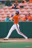 Brad Miller #13 of the Clemson Tigers follows through on his swing versus the Wake Forest Demon Deacons at Doug Kingsmore stadium March 13, 2009 in Clemson, SC. (Photo by Brian Westerholt / Four Seam Images)