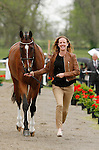 LEXINGTON, KY - APRIL 27: #56 Foxwood High and Selena O'Hanlon jog before the vets and grand jury during the first horse inspection for the Rolex Three Day Event on Wednesday April 27, 2016 in Lexington, Kentucky. (Photo by Candice Chavez/Eclipse Sportswire/Getty Images)