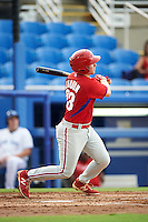 GCL Phillies third baseman Danny Zardon (23) at bat during the first game of a doubleheader against the GCL Blue Jays on August 15, 2016 at Florida Auto Exchange Stadium in Dunedin, Florida.  GCL Phillies defeated the GCL Blue Jays 7-5 in a completion of a game started on July 30th.  (Mike Janes/Four Seam Images)