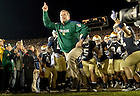 Oct. 22, 2011; Brian Kelly leads the team onto the field before the USC game, 2011...Photo by Matt Cashore/University of Notre Dame