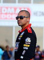 May 16, 2014; Commerce, GA, USA; NHRA top fuel dragster driver J.R. Todd during qualifying for the Southern Nationals at Atlanta Dragway. Mandatory Credit: Mark J. Rebilas-USA TODAY Sports