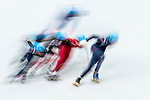 Skaters compete during the Short Track Speed Skating as part of the 2014 Sochi Olympic Winter Games at Iceberg Skating Palace on February 10, 2014 in Sochi, Russia. Photo by Victor Fraile / Power Sport Images