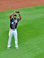 3 September 2012: Washington Nationals outfielder Roger Bernadina pulls in a fly ball to left field during a game against the Chicago Cubs at Nationals Park in Washington, DC. The Nationals edged out the visiting Cubs 2-1, in the first game of heir 4-game series. Mandatory Credit: Ed Wolfstein Photo
