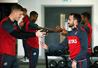 (L-R) Alfie Mawson and Leon Britton exercise in the gym during the Swansea City Training and Press Conference at The Fairwood Training Ground, Swansea, Wales, UK. Thursday 24 August 2017