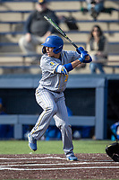 San Jose State Spartans outfielder Connor Konishi (25) at bat against the Michigan Wolverines on March 27, 2019 in Game 1 of the NCAA baseball doubleheader at Ray Fisher Stadium in Ann Arbor, Michigan. Michigan defeated San Jose State 1-0. (Andrew Woolley/Four Seam Images)