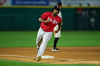 Worcester Red Sox Josh Ockimey (30) running the bases during a game against the Rochester Red Wings on September 2, 2021 at Frontier Field in Rochester, New York.  (Mike Janes/Four Seam Images)