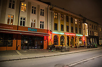 A row of closed restaurants and bars in the trendy Grunerløkka area.   Like most capitals, Oslo is usually busy on a Saturday night. But on the first weekend after Norwegian authorites  introduced measures to combat the Coronavirus (COVID-19) the city was almost deserted. <br />