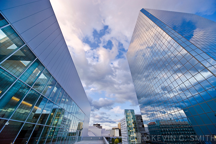 View of the Atwood Tower and the Dena'ina Civic and Convention Center, wide angle lens looking up, Southcentral Alaska, USA.
