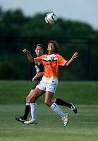 Holly King (16) of the D.C. United Women stays close to Gloria Douglas (7) of the Charlotte Lady Eagles during the game at the Maryland SoccerPlex in Boyds, Maryland.  The D.C. United Women defeated the Charlotte Lady Eagles, 3-0, to win the W-League Eastern Conference Championship.