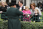 October 18, 2014: Keeneland Bugler Steve Buttleman entertains families between races.  Candice Chavez/ESW/CSM