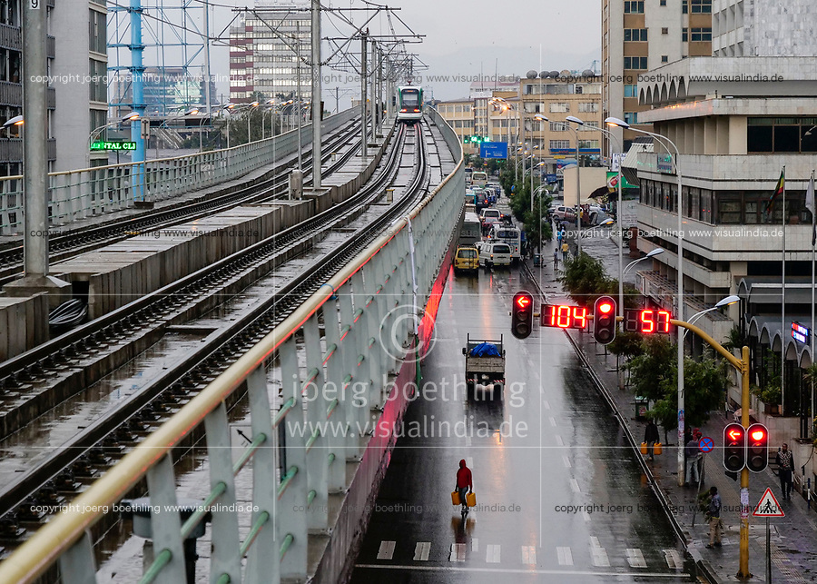 ETHIOPIA , Addis Ababa, LRT Light rail transport, green line, build by chinese company  / AETHIOPIEN, Addis Abeba, Stadtbahn Linie, gebaut durch chinesische Firma