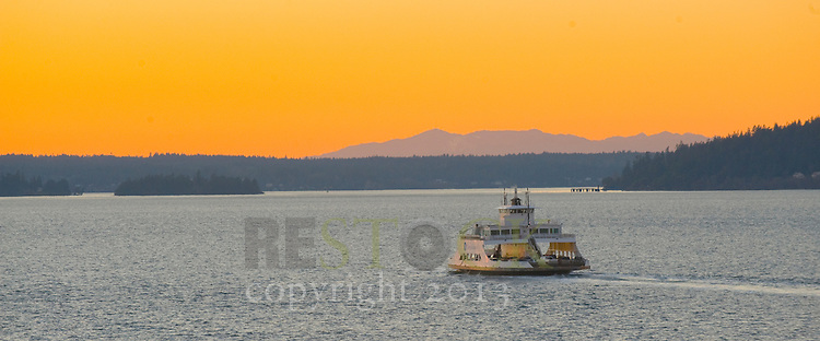 Boat on the Water with Yellow Sky