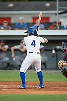 Jose Marquez (4) of the Burlington Royals at bat against the Danville Braves at Burlington Athletic Stadium on August 12, 2017 in Burlington, North Carolina.  The Braves defeated the Royals 5-3.  (Brian Westerholt/Four Seam Images)