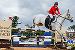 October 17, 2021: Will Faudree (USA), aboard Pfun, competes during the Stadium Jumping Final at the 5* level during the Maryland Five-Star at the Fair Hill Special Event Zone in Fair Hill, Maryland on October 17, 2021. Jon Durr/Eclipse Sportswire/CSM