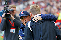 (L-R) Middlesbrough manager Tony Pulis greets Swansea City manager Graham Potter during the Sky Bet Championship match between Middlesbrough and Swansea City at the Riverside Stadium, Middlesbrough, England, UK. Saturday 22 September 2018