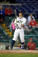 Pitt Panthers right fielder Frank Maldonado (3) at bat during a game against the Ohio State Buckeyes on February 20, 2016 at Holman Stadium at Historic Dodgertown in Vero Beach, Florida.  Ohio State defeated Pitt 11-8 in thirteen innings.  (Mike Janes/Four Seam Images)