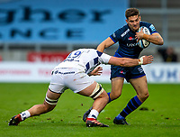 29th August 2020; AJ Bell Stadium, Salford, Lancashire, England; English Premiership Rugby, Sale Sharks versus Bristol Bears; Will Cliff of Sale Sharks is tackled by John Hawkins of Bristol Bears