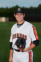 Aberdeen IronBirds pitcher Connor Gillispie (11) poses for a photo before a NY-Penn League game against the Vermont Lake Monsters on August 19, 2019 at Leidos Field at Ripken Stadium in Aberdeen, Maryland.  Aberdeen defeated Vermont 6-2.  (Mike Janes/Four Seam Images)