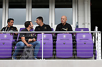 Orlando, Florida - Saturday January 13, 2018: Los Angeles FC technical staff (from left): John Thorrington, Kenny Arena, Mike Sorber, and Bob Bradley. Match Day 1 of the 2018 adidas MLS Player Combine was held Orlando City Stadium.