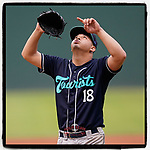 Starting pitcher Juan Pablo Lopez (18) of the Asheville Tourists rejoices after a throwing scoreless inning in a game against the Greenville Drive on Wednesday, June 2, 2021, at Fluor Field at the West End in Greenville, South Carolina. (Tom Priddy/Four Seam Images) #baseball #milb #sports