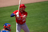 St. Louis Cardinals Harrison Bader (48) bats during a Major League Spring Training game against the New York Mets on March 19, 2021 at Clover Park in St. Lucie, Florida.  (Mike Janes/Four Seam Images)