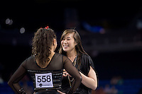 LOS ANGELES, CA - April 19, 2013:  Stanford assistant coach Tabitha Yim and Ashley Morgan during the NCAA Championships at UCLA.