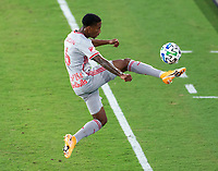 WASHINGTON, DC - SEPTEMBER 12: Kyle Duncan #6 of the New York Red Bulls controls the ball during a game between New York Red Bulls and D.C. United at Audi Field on September 12, 2020 in Washington, DC.