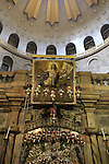Israel, Jerusalem, an icon above the entrance to the Edicule of the Tomb in the Church of the Holy Sepulchre