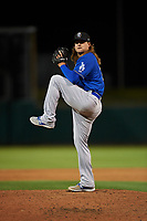 Rancho Cucamonga Quakes relief pitcher Stetson Allie (23) delivers a pitch during a California League game against the Stockton Ports at Banner Island Ballpark on May 16, 2018 in Stockton, California. Rancho Cucamonga defeated Stockton 6-3. (Zachary Lucy/Four Seam Images)