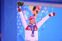 OLYMPICS: SOCHI: Medal Plaza, 12-02-2014, medaille uitreiking, 500m Ladies, Olga Fatkulina (RUS), ©foto Martin de Jong