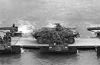 - Franco-German bilateral military exercise in Bavaria, German Army Luchs armoured car crosses a pontoon bridge over the Danube river, September 1987<br /> <br /> - Esercitazione militare bilaterale franco-tedesca in Baviera, autoblindo Luchs dell'esercito tedesco attraversa un ponte din barche sul fiume Danubio, Settembre 1987