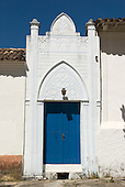 Goias Velho, Brazil. Well preserved colonial town; colonial architecture; entrance door with ornate pediment.