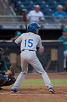 AZL Mariners center fielder Raymond Lopez (15) at bat during an Arizona League game against the AZL Royals at Peoria Sports Complex on July 25, 2018 in Peoria, Arizona. The AZL Mariners defeated the AZL Royals 5-3. (Zachary Lucy/Four Seam Images)