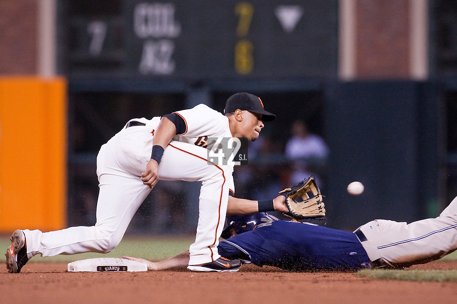 21 April 2009: San Diego Padres' Chase Headley slides safely on second base against San Francisco Giants' Emmanuel Burriss during the San Francisco Giants' 8-3 win  over the San Diego Padres at AT&T Park in San Francisco, CA.