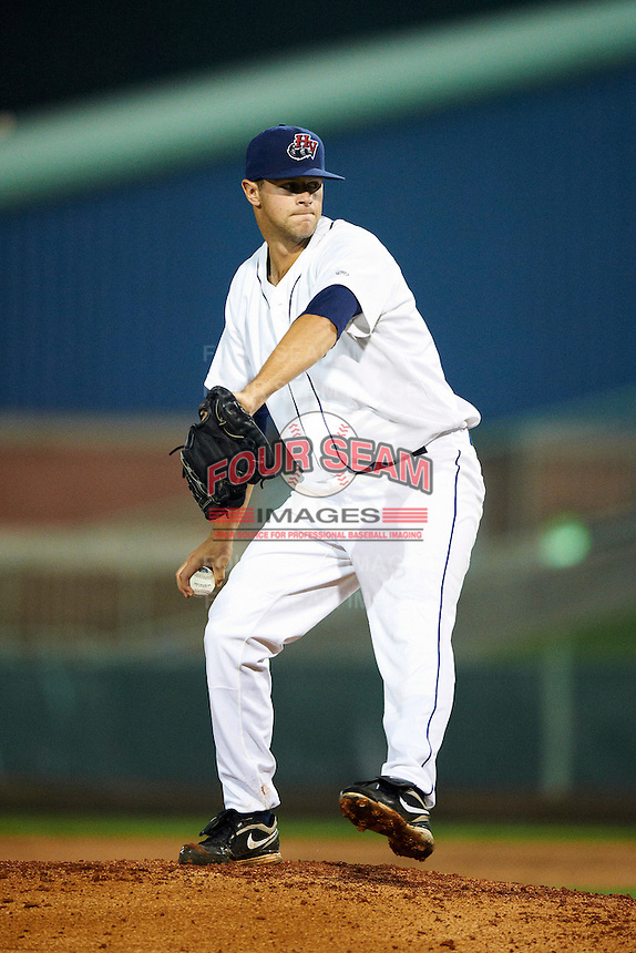 Hudson Valley Renegades pitcher Jeff Ames #34 during the NY-Penn League All-Star Game at Eastwood Field on August 14, 2012 in Niles, Ohio.  National League defeated the American League 8-1.  (Mike Janes/Four Seam Images)