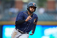 Willi Castro (5) of the Toledo Mud Hens hustles towards third base against the Charlotte Knights at BB&T BallPark on April 25, 2019 in Charlotte, North Carolina. The Mud Hens defeated the Knights 11-7. (Brian Westerholt/Four Seam Images)