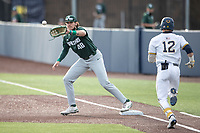 Michigan State Spartans first baseman Brock Vradenburg (48) waits for a throw against the Michigan Wolverines on March 22, 2021 in NCAA baseball action at Ray Fisher Stadium in Ann Arbor, Michigan. Michigan State beat the Wolverines 3-0. (Andrew Woolley/Four Seam Images)