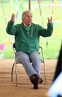 """Friday 23 May 2014, Hay on Wye UK<br /> Pictured: Henry Winkler (C) aka """"The Fonz"""" from tv series Happy Days at the festival.<br /> Re: The Telegraph Hay Festival, Hay on Wye, Powys, Wales UK."""