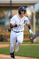 FCL Tigers West Izaac Pacheco (35) runs to first base after his first professional hit during a game against the FCL Yankees on July 31, 2021 at Tigertown in Lakeland, Florida.  (Mike Janes/Four Seam Images)