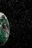 A tunnel under a busy street viewed from one end, then turned sideways becomes a green marble, an earth-like planet floating in a starfield.